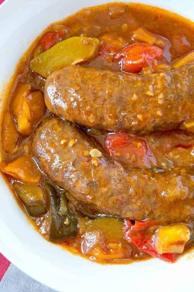 slow cooker sausage and veggies
