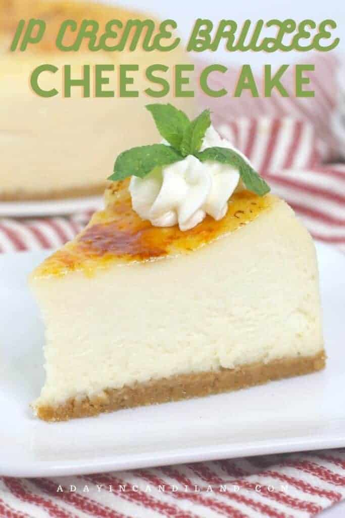 Slice of Creme Brulee Cheesecake with striped napkin