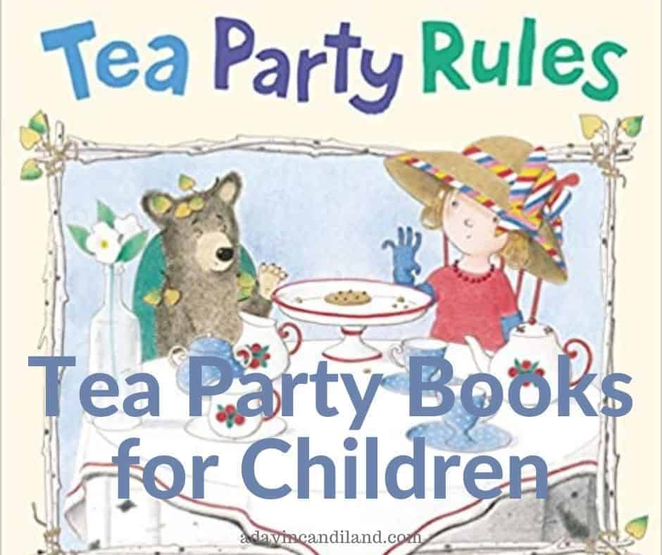 A childrens tea party with a bear.