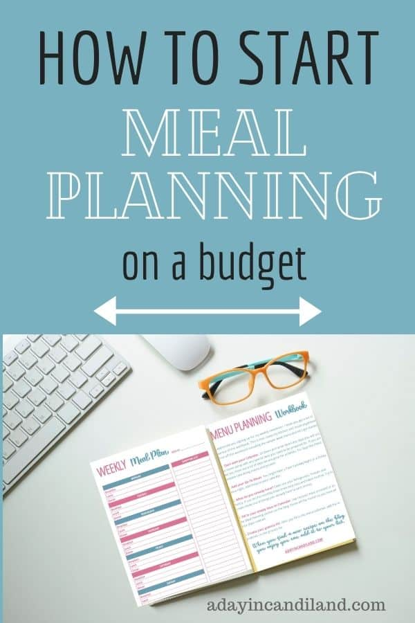 Desk with Meal Planning worksheet on it.