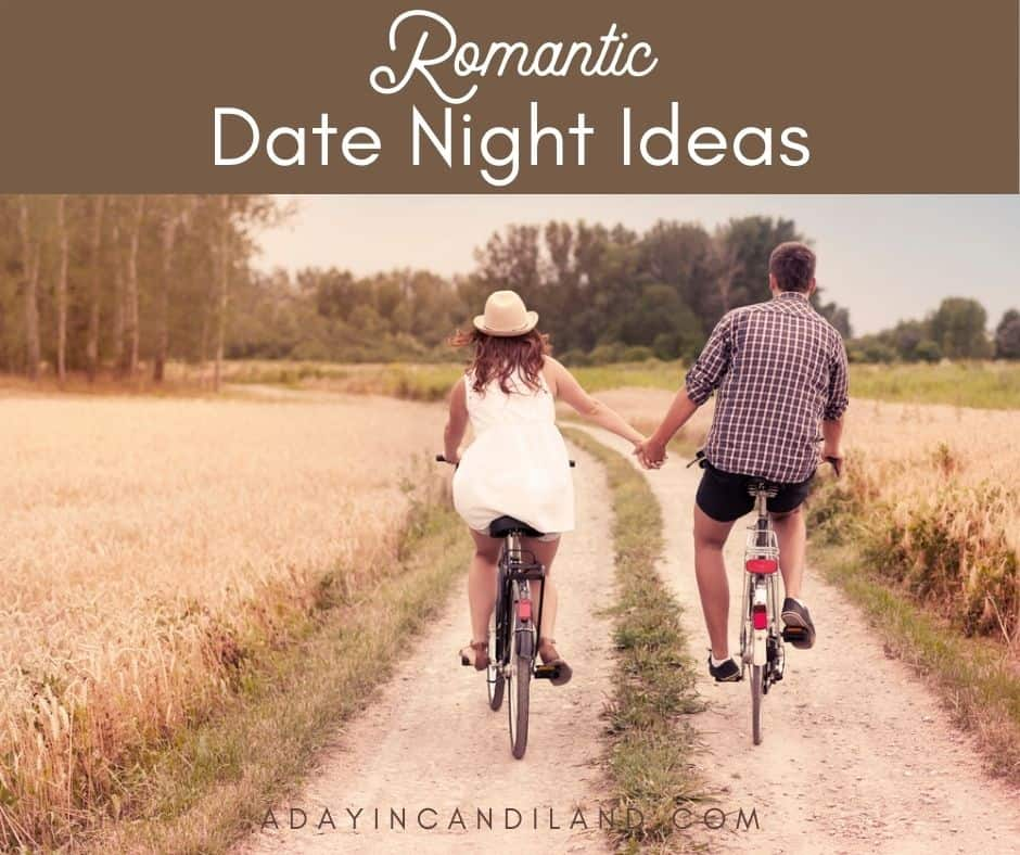 Couple holding hands riding bikes. Romantic Date Ideas