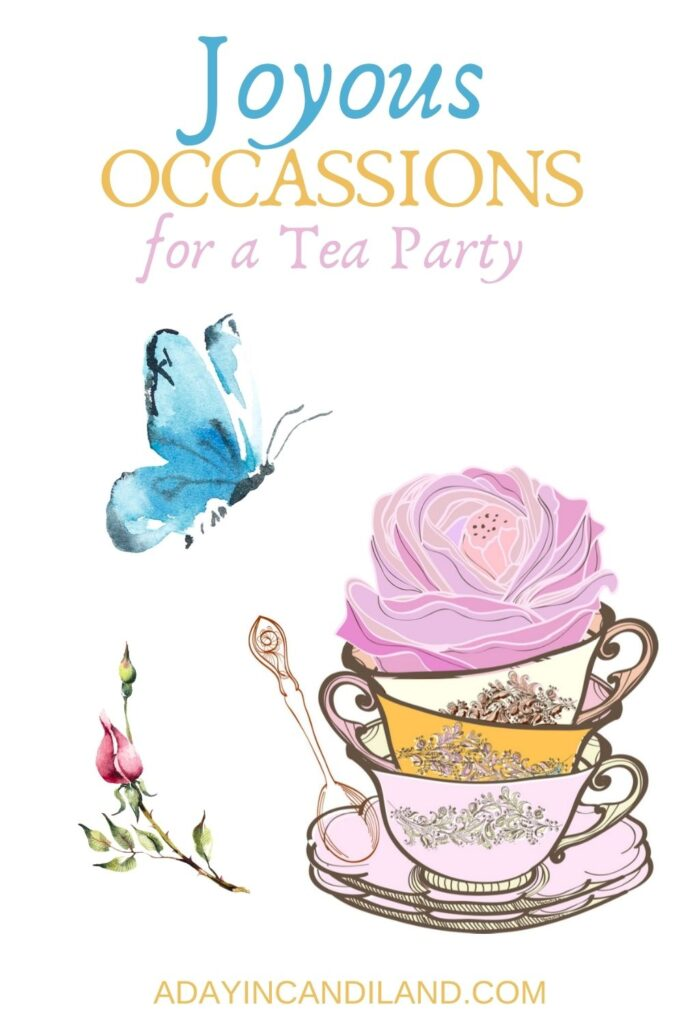 Themes for a Tea party. teacup with spoon and flower, and blue butterfly.