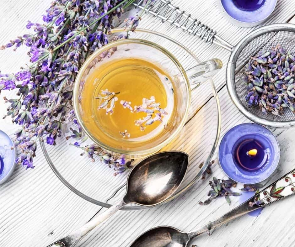 Glass of herbal tea with lavender