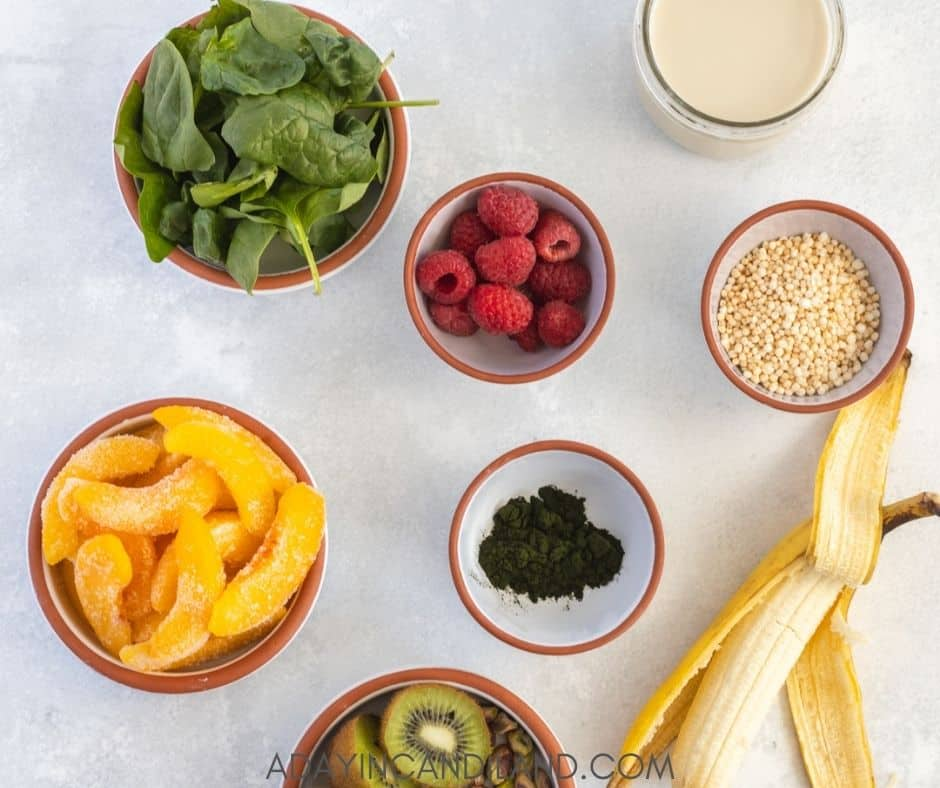 Ingredients on table that go into the smoothie bowl