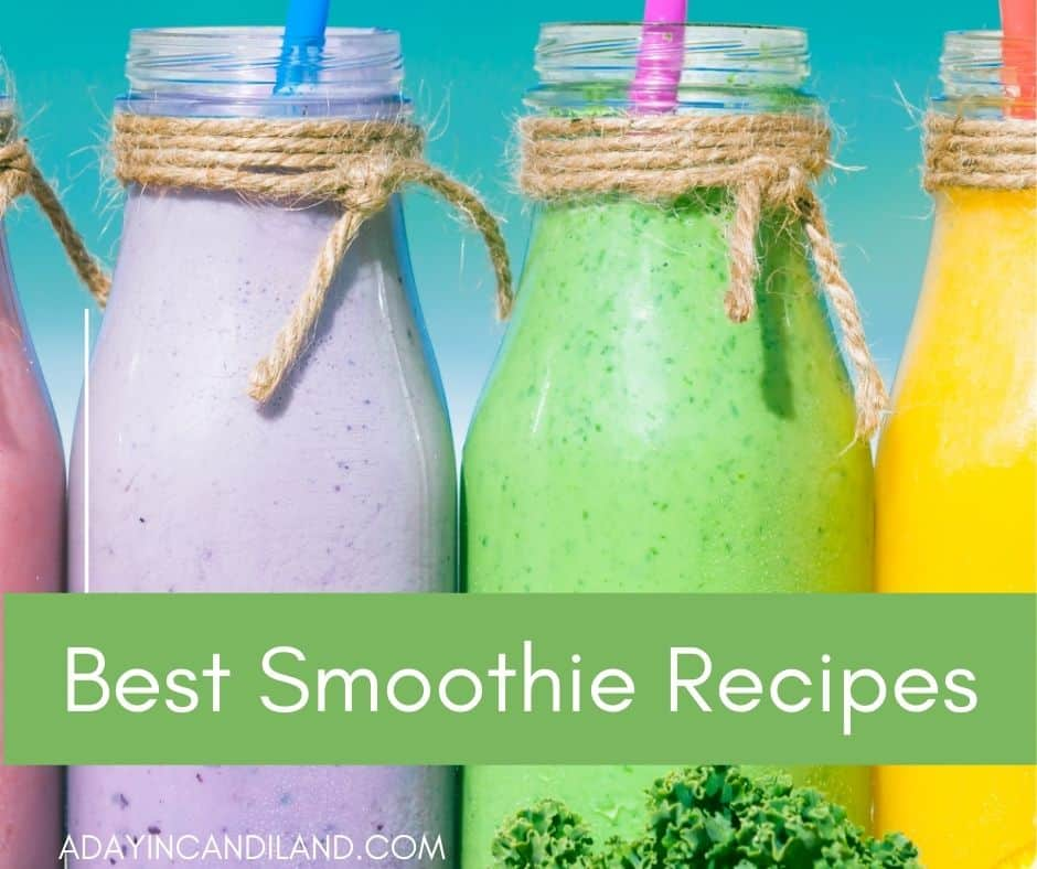 4 Glasses of smoothies, yellow, green, purple and berry.
