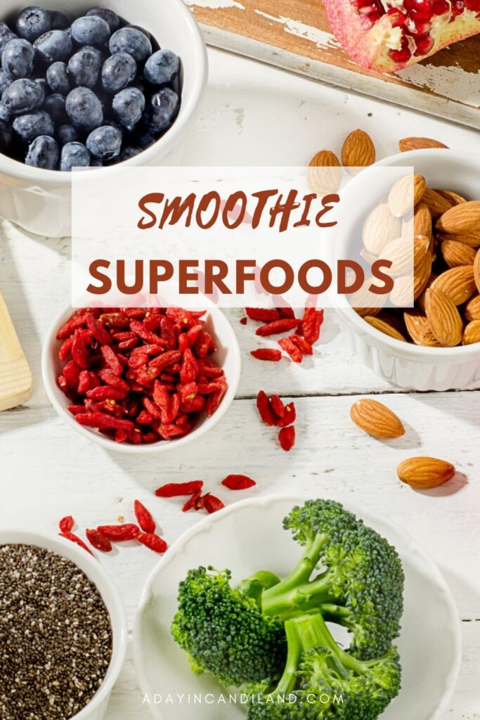 Bowls of different superfoods for smoothies