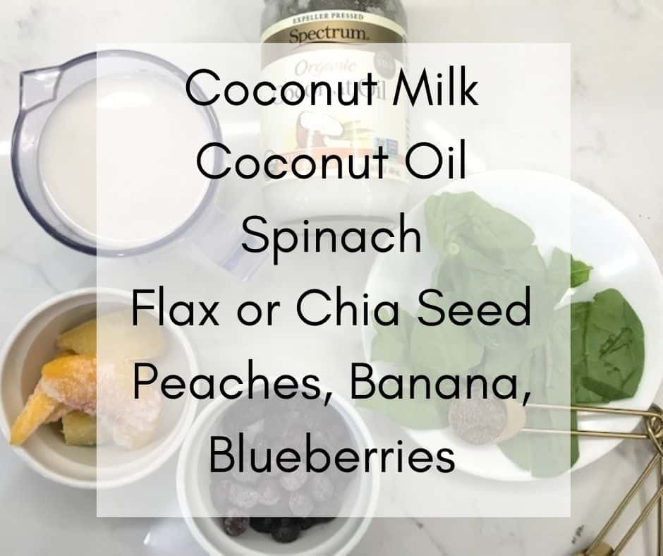Ingredients for Spinach Blueberry Smoothie, Coconut Milk, Flax Seed, Spinach, Coconut Oil