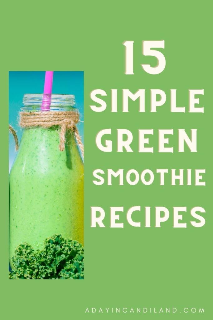 Picture of a green smoothie with a pink straw