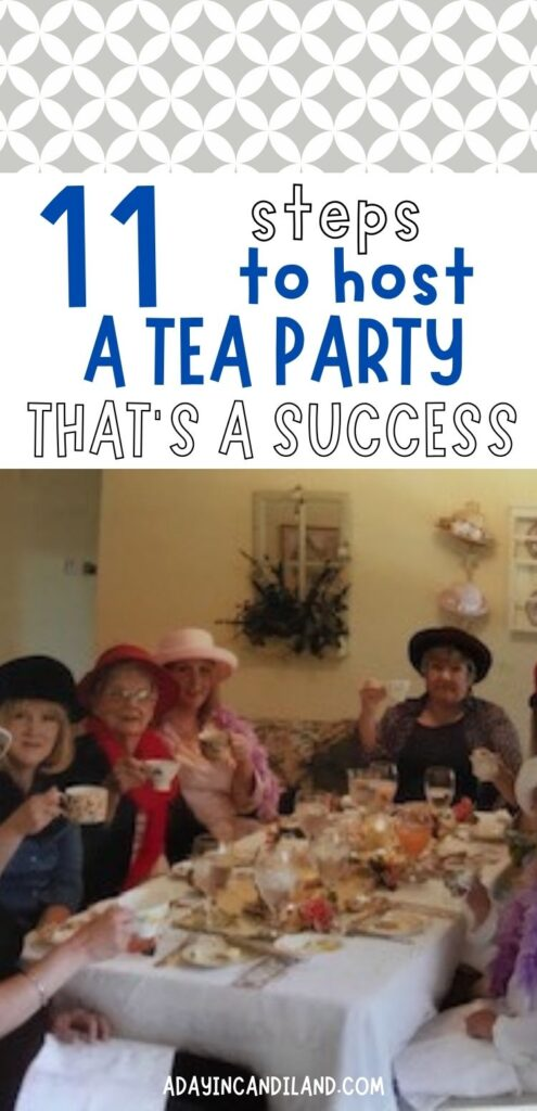 People sitting around the table for a tea party. Raising their cups