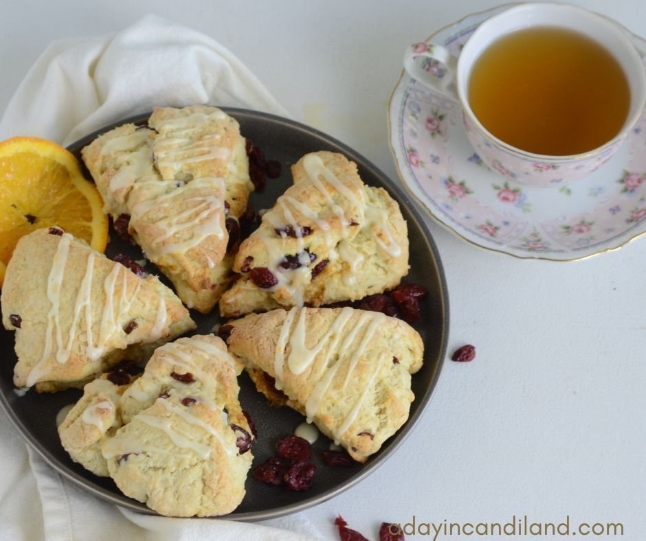 Plate of Cranberry Scones with Cup of Tea