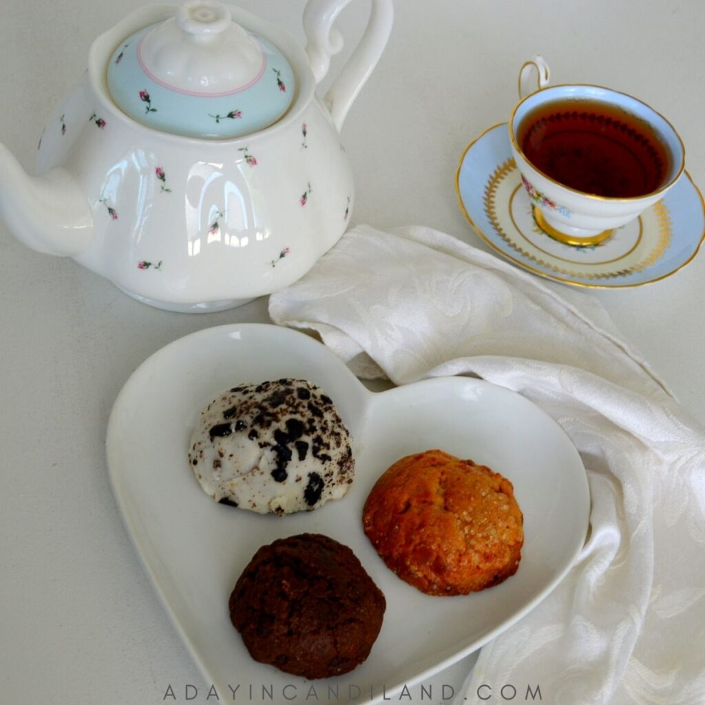 Plate of scones with Teapot and teacup