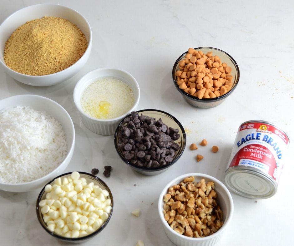 Ingredients to make 7 layer bars